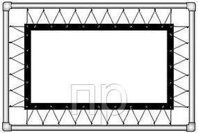Экран прямой проекции на люверсах из полотна беломатового