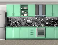 Кухонный фартук Капли росы на черном фоне (Наклейка виниловая пленка скинали для кухни)Самоклейка 60 х 300 см.