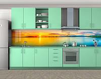 Кухонный фартук Закат над водой (Наклейка виниловая пленка скинали для кухни) Самоклейка 60 х 300 см.