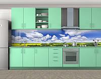 Кухонный фартук Голубое небо над желтым полем Наклейка виниловая пленка скинали для кухни) 60 х 300 см.