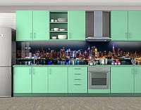 Кухонный фартук Ночной город (Самоклейка наклейка виниловая пленка скинали для кухни) 60 х 300 см.
