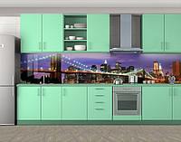 Кухонный фартук Вечерний мост (Самоклейка наклейка виниловая пленка скинали для кухни) 60 х 300 см.