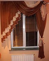 Ламбрекен №27а на карниз 1.5м. с шторкой. Цвет темно коричневый