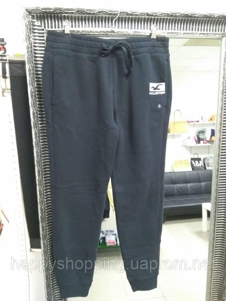 Мужские стильные черные утепленные  спортивные штаны Hollister
