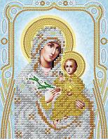 Схема на ткани для вышивания бисером Икона Пресвятой Богородицы Неувядаемый цвет (серебро)