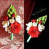 """""""Розы с фрезиями"""" из полимерной глины. Бутоньерка для жениха или свидетеля ручной работы."""