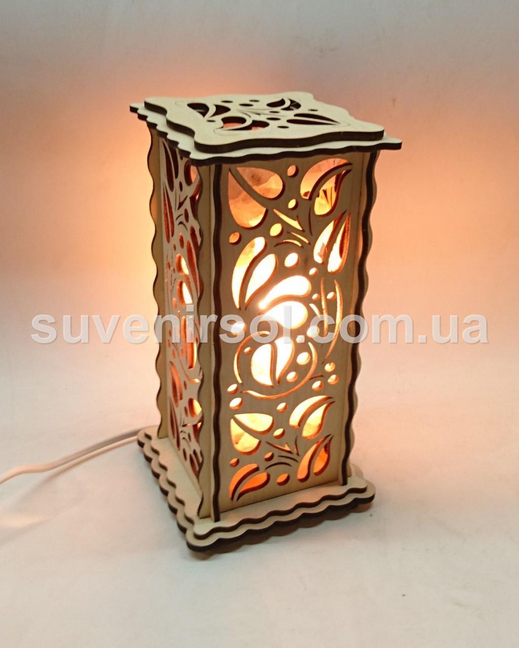 Соляной светильник Деревянный