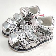 Детские босоножки сандалии сандали для девочек кожаные серебристые tom.m 23р.