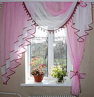 Ламбрекен №27а на карниз 1.5м. с шторкой. Розовый