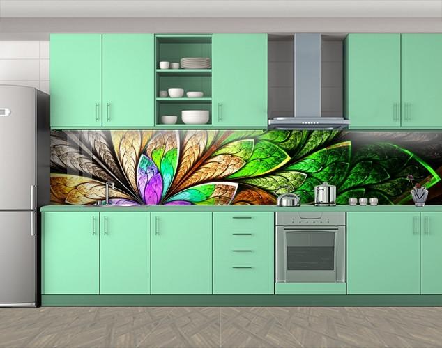 Кухонный фартук Экзотический цветок (Самоклейка наклейка виниловая пленка скинали для кухни) 60 х 300 см.
