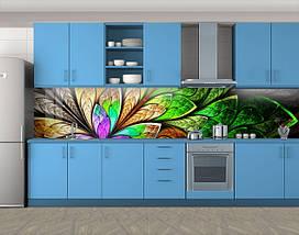 Кухонный фартук Экзотический цветок (Самоклейка наклейка виниловая пленка скинали для кухни) 60 х 300 см., фото 3