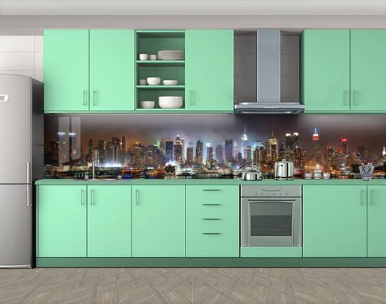 Кухонный фартук Огни большого города (Защитная наклейка виниловая пленка скинали для кухни) 60 х 300 см., фото 2