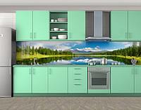 Кухонный фартук Отражение неба в озере (самоклейка наклейка виниловая пленка скинали для кухни) 60 х 300 см.
