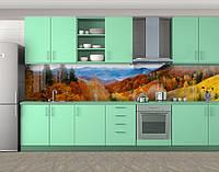 Кухонный фартук Осень в горах (самоклейка наклейка виниловая пленка скинали для кухни) 60 х 300 см.
