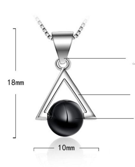 Кулон серебряный с черным натуральным камнем оникс стерлинговое серебро 925 пробы