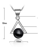Кулон серебряный с черным натуральным камнем оникс стерлинговое серебро 925 пробы, фото 1