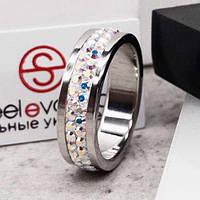 Кольцо с мультицветными кристаллами Swarovski 15-20 р 102666