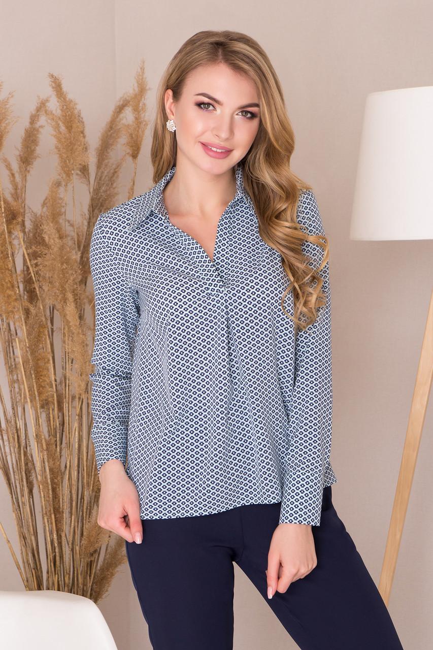 3fa8b3237c4 Легкая деловая блузка с длинным рукавом и удлиненной спинкой