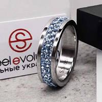 Кольцо с голубыми кристаллами Swarovski 15-20 р 102667