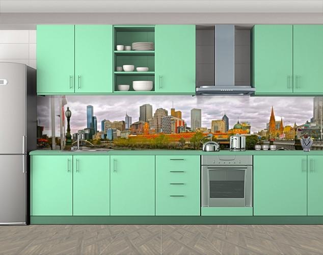 Кухонный фартук Городской пейзаж (Самоклейка наклейка виниловая пленка скинали для кухни) 60 х 300 см.