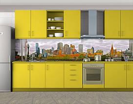 Кухонный фартук Городской пейзаж (Самоклейка наклейка виниловая пленка скинали для кухни) 60 х 300 см., фото 2