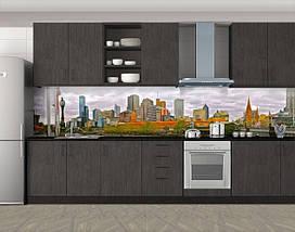 Кухонный фартук Городской пейзаж (Самоклейка наклейка виниловая пленка скинали для кухни) 60 х 300 см., фото 3