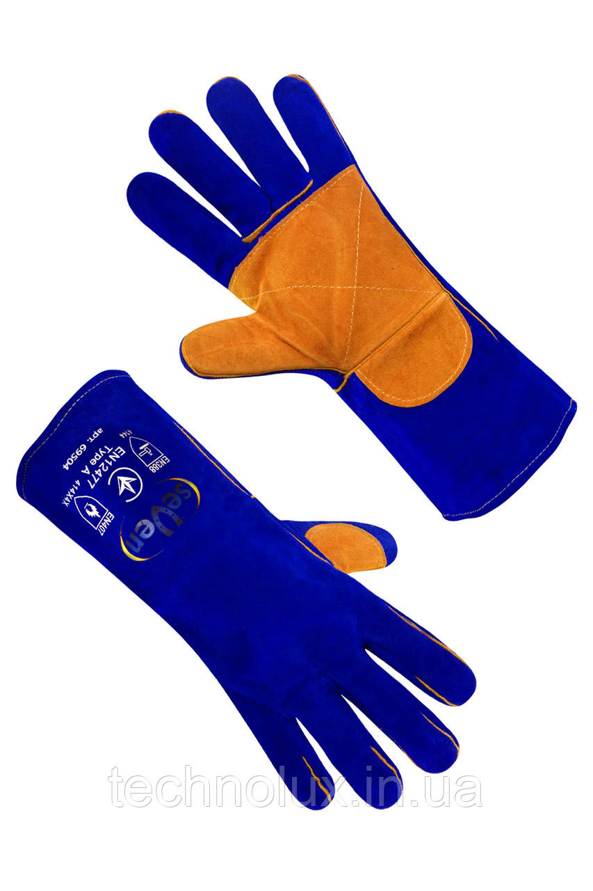 Краги перчатки спилковые Seven S-H18 на подкладке длинная синяя