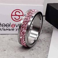 Кольцо с розовыми кристаллами Swarovski 15-20 р 102671