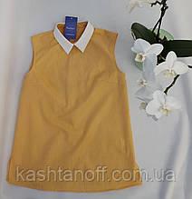 Блуза-безрукавка, желтая клетка