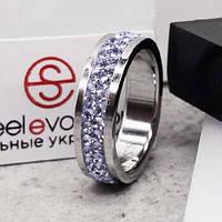 Кольцо с лиловыми кристаллами Swarovski 15-20 р 102677