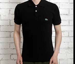 Футболка поло мужская Лакоста демисезонная черная (реплика) T-Shirt Lacoste Black