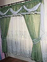 Ламбрекен №6 + шторы из шифона. Цвет оливковый с белым