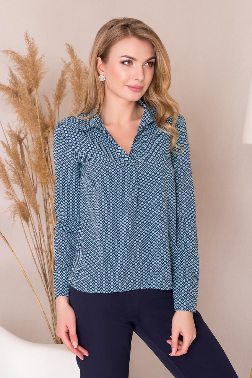 9b33e9fd085 Свободная классическая блузка-рубашка с длинным рукавом в мелкий узор