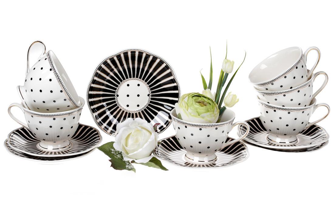 Чайный фарфоровый набор Минималист: 6 чашек 250мл + 6 блюдец 15см (572-150)