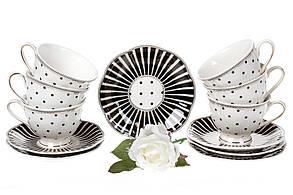 Чайный фарфоровый набор Минималист: 6 чашек 250мл + 6 блюдец 15см (572-150), фото 3