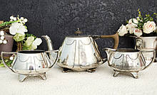 Антикварний посріблений сервіз, чайник, молочник і цукорниця, сріблення, Англія