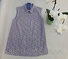 Блуза-безрукавка, цветочный принт
