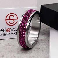 Кольцо Swarovski с кристаллами Фуксия 15-20 р 102669