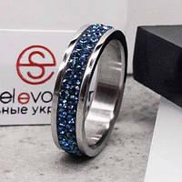 Кольцо с синими кристаллами Swarovski 15-20 р 102674