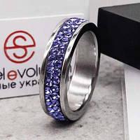 Кольцо с кристаллами Swarovski Лаванда 15-20 р