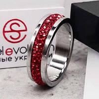 Кольцо с красными кристаллами Swarovski 15-20 р 102673