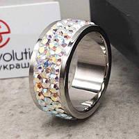 Кольцо Swarovski с мультицветными кристаллами 15-20 р 102678