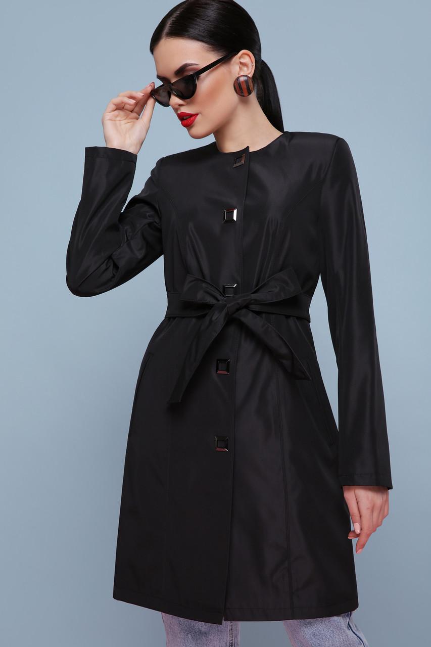 Модный демисезонный женский плащ с поясом черный