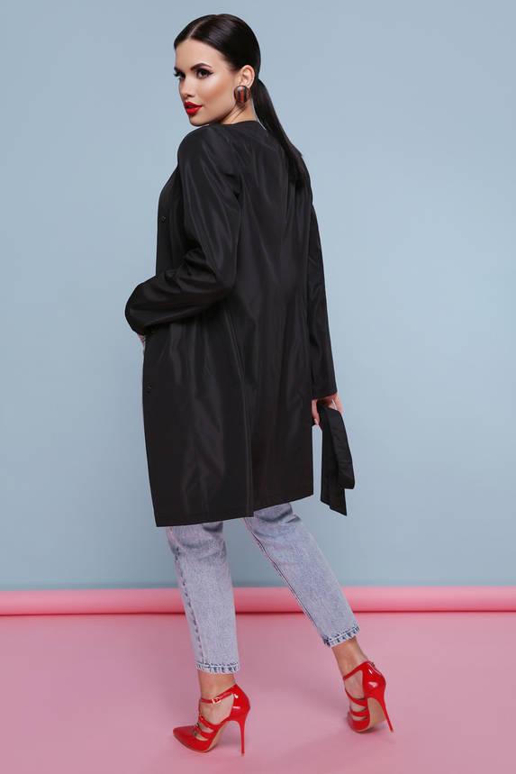 Модный демисезонный женский плащ с поясом черный, фото 2