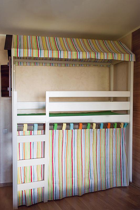 Кровать чердак Домик, массив березы, ольха