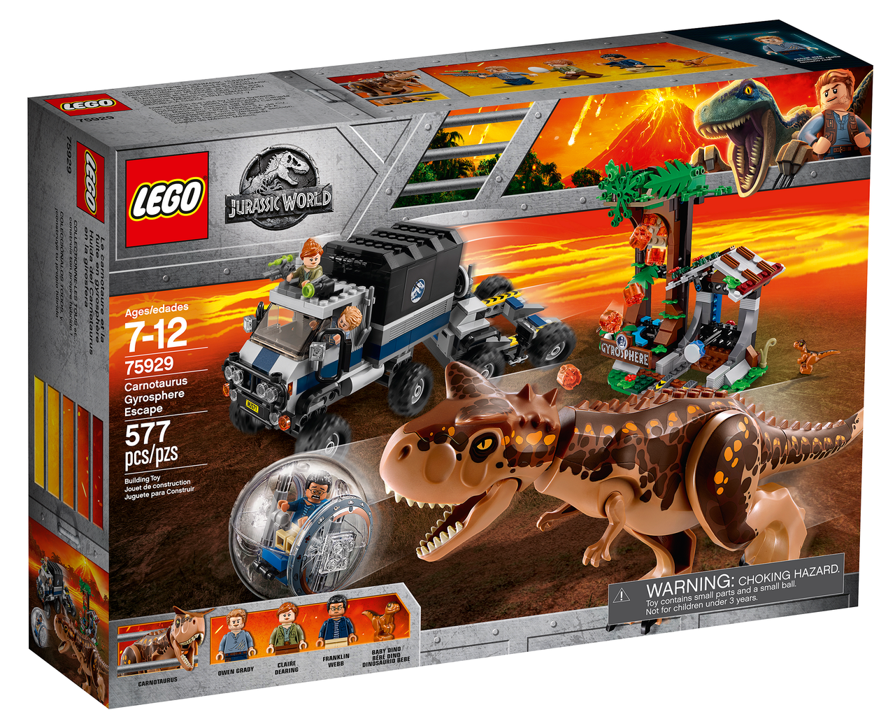 Lego Jurassic World Побег в гиросфере от Карнотавра 75929