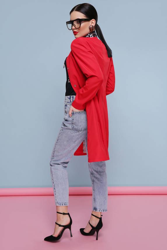 Модный демисезонный женский плащ с поясом красный, фото 2