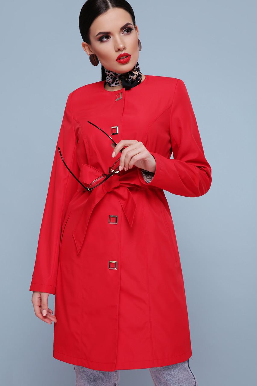 Модный демисезонный женский плащ с поясом красный