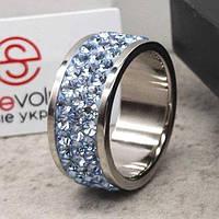 Кольцо с голубыми кристаллами Swarovski 15-20 р 102679