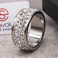 Кольцо с белыми кристаллами Swarovski 15-20 р 102681